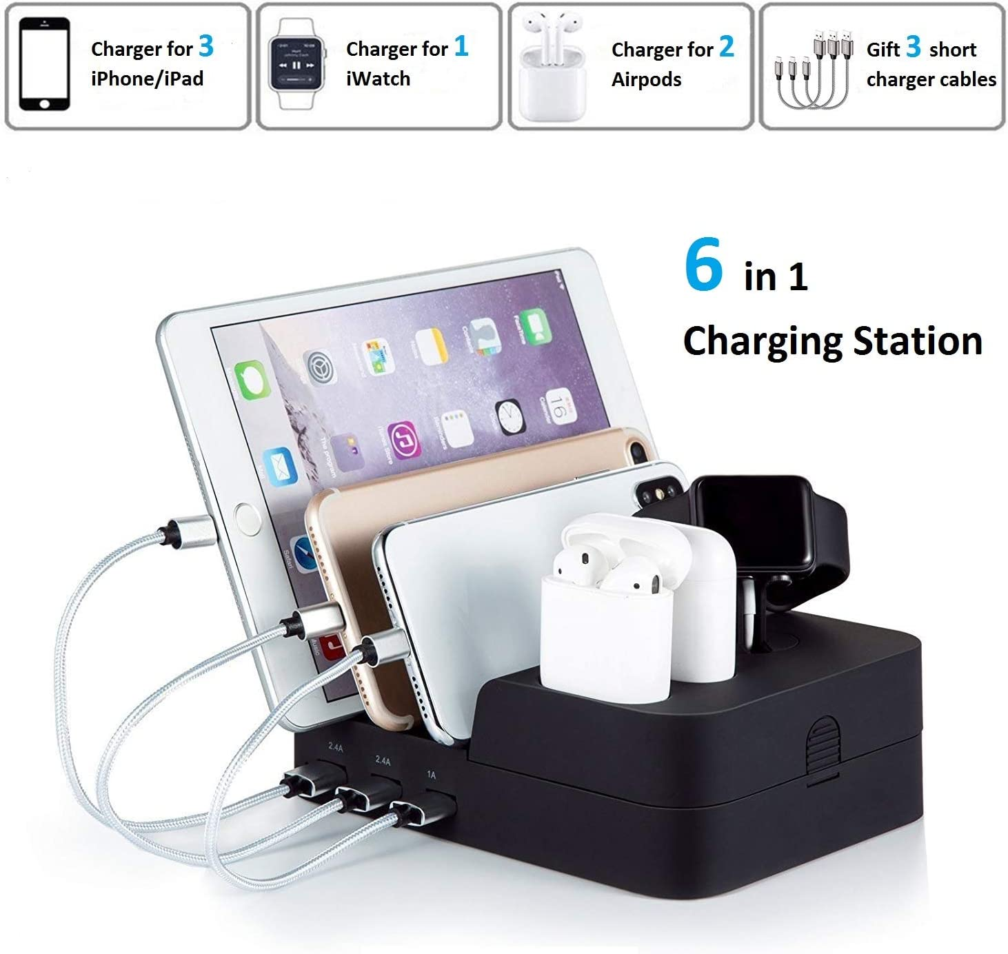 5Port USB Charging Station Dock Stand Desktop Multi Charger Hub For Phone Tablet