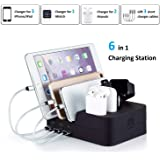 KeyEntre 6 Port USB Charging Station Multi Device USB Charging Dock Station HUB Desktop Charger Stand Organizer…