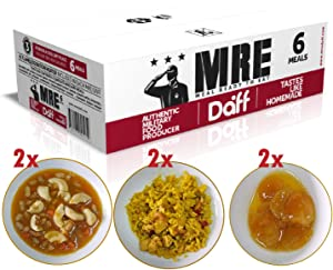 MRE Meals Military Style by DAFF. Full Day Box 1 (2 Apricot Breakfast, 2 Pasta Meal, 2 Paella Meal) (6 Single Meals). Full MRE Ideal for Camping, Survival and as Emergency Food. [1000 Calories/Bag]