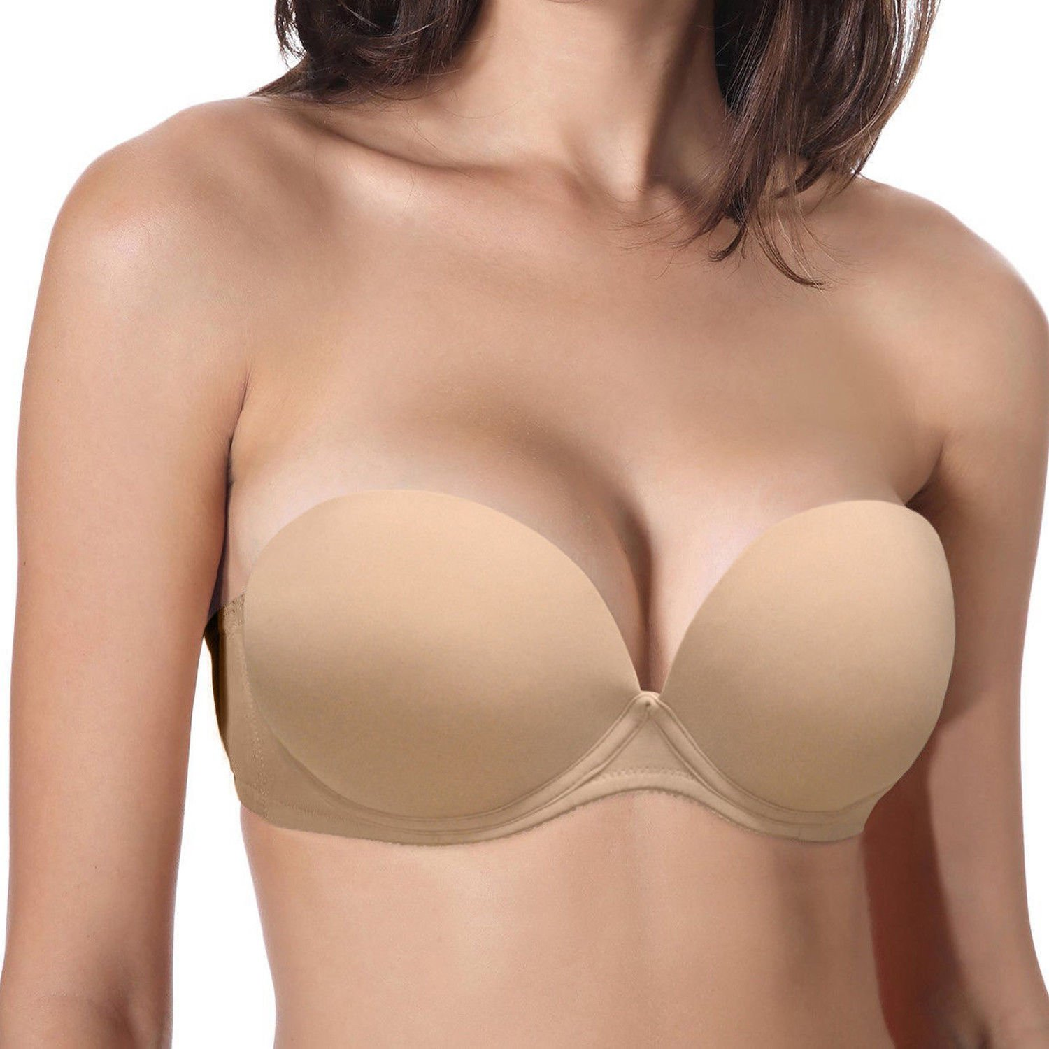 d86117355 Low cut convertible multiway strapless bra with contour underwire thick  padded cups. Detachable straps converts several ways  regular