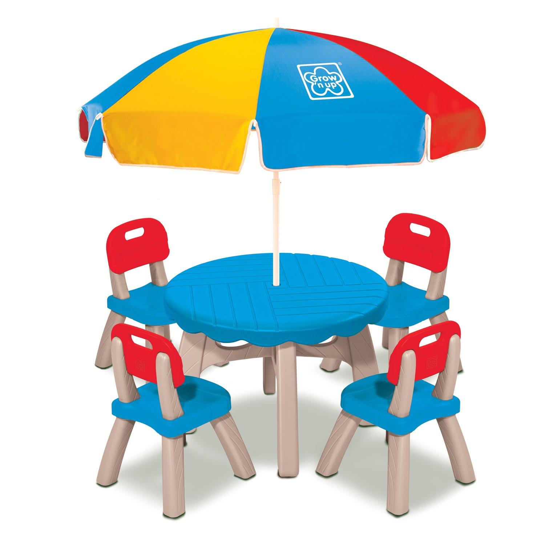 Grow N Up Summertimeパティオテーブルと椅子セットwith Umbrella 3017-10 B01FN3VAVG  マルチカラー