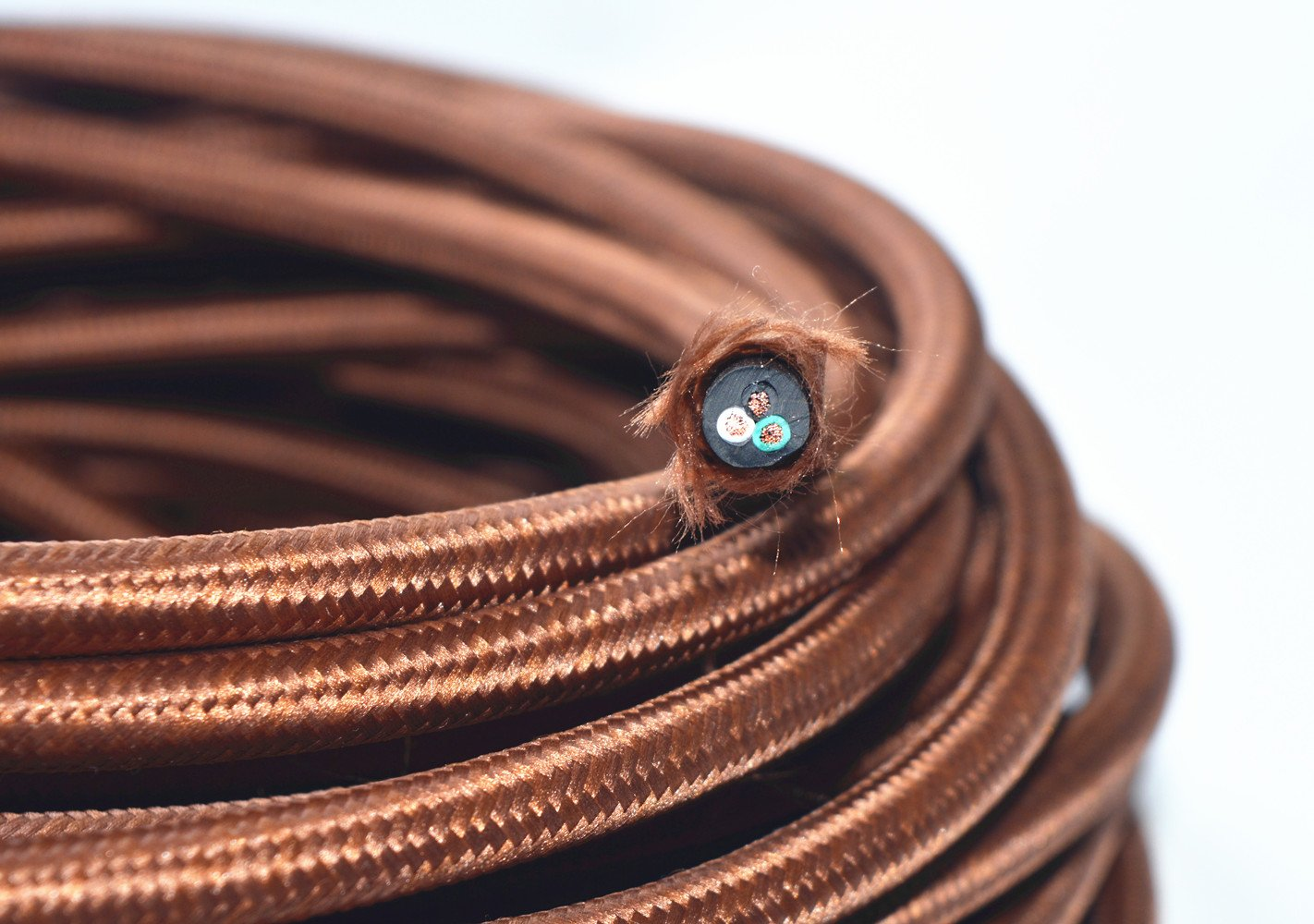 Coffee Brown 18/3 25 ft 3-wire Flat Cloth Covered Wire Antique Lamp Cord Cloth Electrical Cord 3 Core Round Cord, 18ga. Vtg Lamp Wire Antique UL Listed Fortunewill