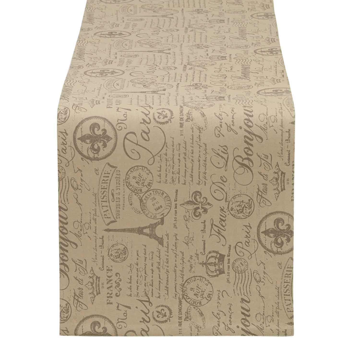 DII COSD35169 100% Cotton, Machine Washable, Everyday French Stripe Kitchen Table Runner for Dinner Parties, Events, Décor, 14x72 Flourish