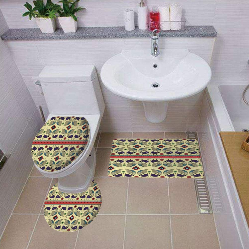 Bath mat set Round-Shaped Toilet Mat Area Rug Toilet Lid Covers 3PCS,Tribal,Ethnic and Creative Peacock Pattern with Flowers Abstract Native America Art Decorative,Cream and Purple ,Bath mat set Round by iPrint