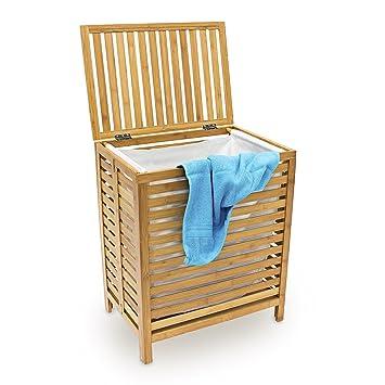 Relaxdays 10018978 Panier A Linge Corbeille Bambou Coffre Bois Sac