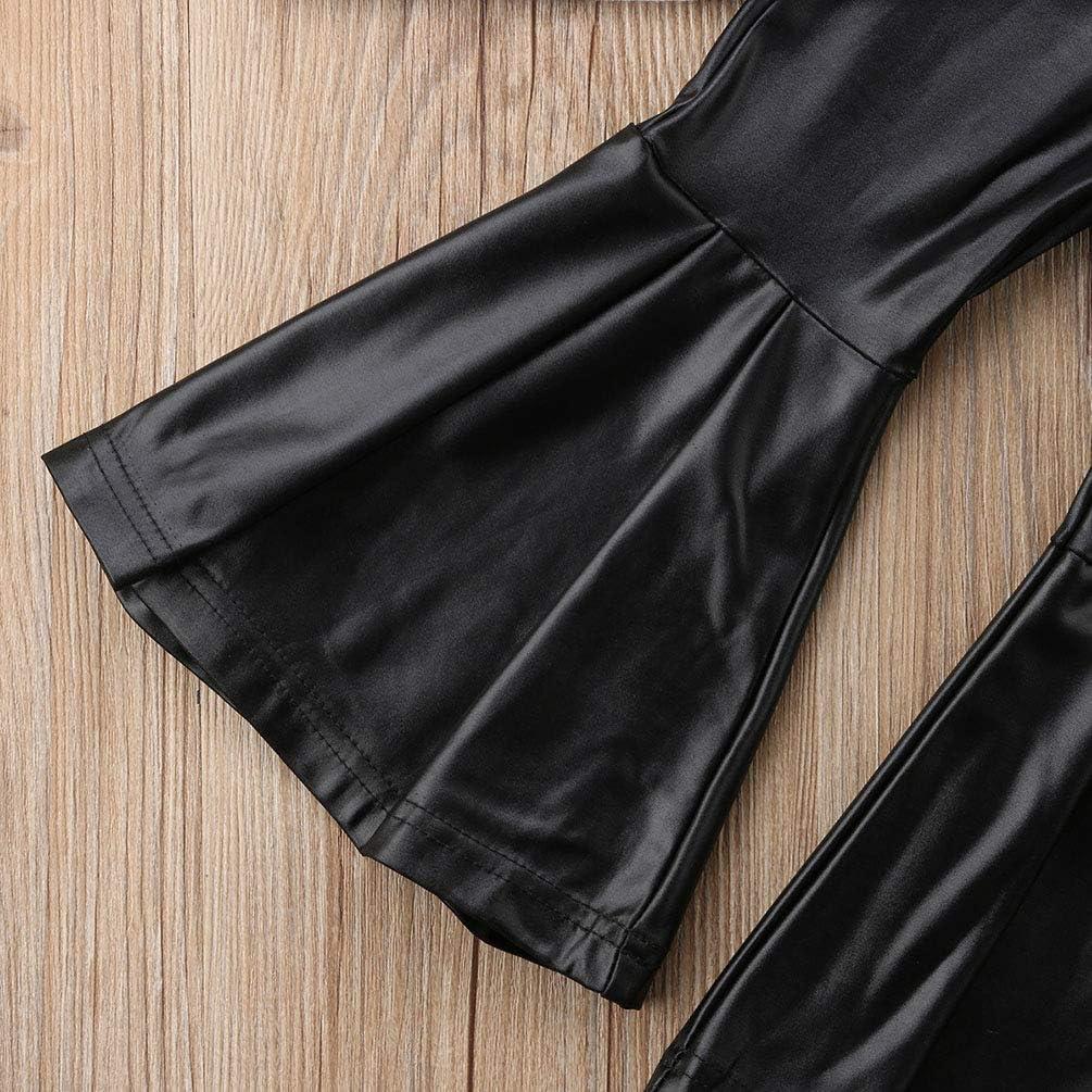 NEAER 2PCS Baby Girl Black/&White Spot Tube Top Shirt+Ruffle Floral Bell Bottom Pants Casual Clothing