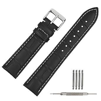 Bande Boucle Bracelet Cuir Remplacement Noir 18mm Homme 22mm Femme 21mm De Montre 19mm Pour 20mm 0v8ONwnym