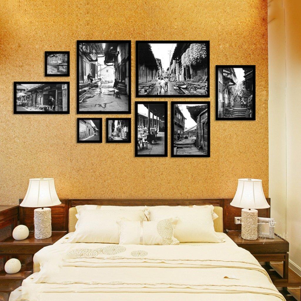 Set Von 9 Bilderrahmen Collage Schwarz Weiss Alte Bild Retro