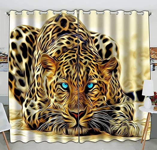 Custom Special Effect Leopard Authentical Blue Eyes Wild Animal Print Blackout Curtains Window Treatment Panel Drapes 52 W x 84 H inches Two Piece