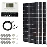 HQST 300 Watt 12 Volt Monocrystalline Slim Solar Panel Kit with 30A Negative-Ground PWM LCD Display Charge Controller