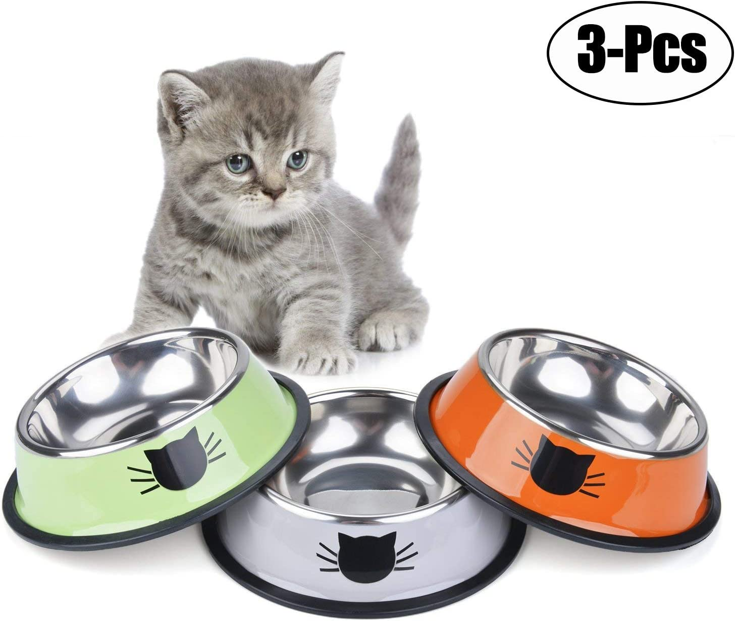 Legendog 3PCS Pet Bowl Stainless Steel Non-Skid Base Dog Bowl Cat Bowl with 2 Food Scoop