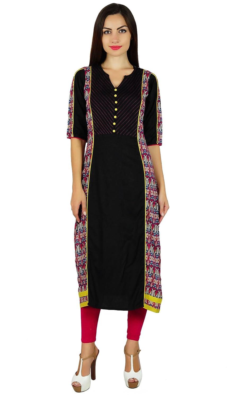 Bimba Womens Designer Ethnic Cotton Kurta Straight Kurti 3/4 Sleeve Kurti Indian Blouse - Black