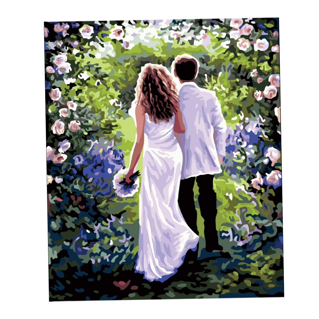 Homyl Oil Painting On Canvas Paint By Number Kits Romantic Couple 40x50cm Amazon In Home Kitchen