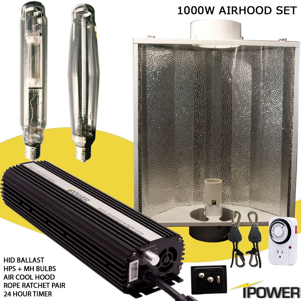 iPower 1000 Watt HPS MH Digital Dimmable Grow Light System Kits Air Cooled Reflector Hood Set by iPower