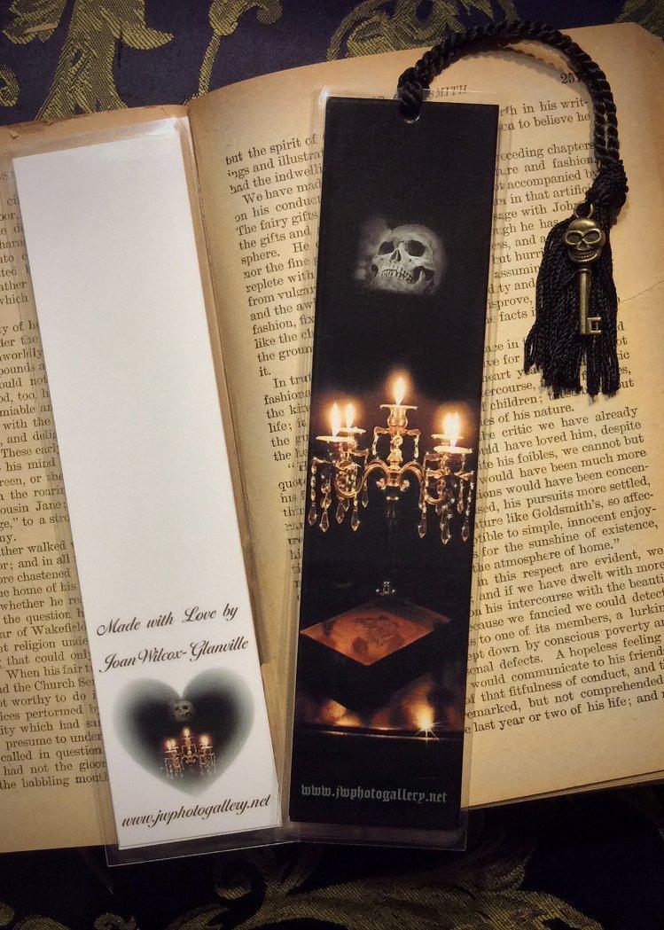 Crystal Candelabra Candles Skull Gothic Scary Spooky Photo Halloween Bookmark w/ Skull Skeleton Key Fine Art Photography Photo Laminated Handmade Bookmark
