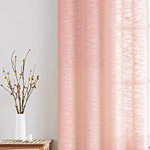 "Fmfunctex Semi-Sheer Curtains for Girl's Room Linen Textured Privacy Window Curtain Draperies for Nursery Room Blush Pink Kids Bedroom Not See Through 52""w x63""L 2 Panels Rod Pocket"