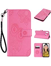 BONROY Huawei Y9 2019 Case, Wallet Case Soft PU Leather Notebook Design Case with Kickstand Function Card Holder and Slot Slim Flip Protective Skin Cover-(YK pink)