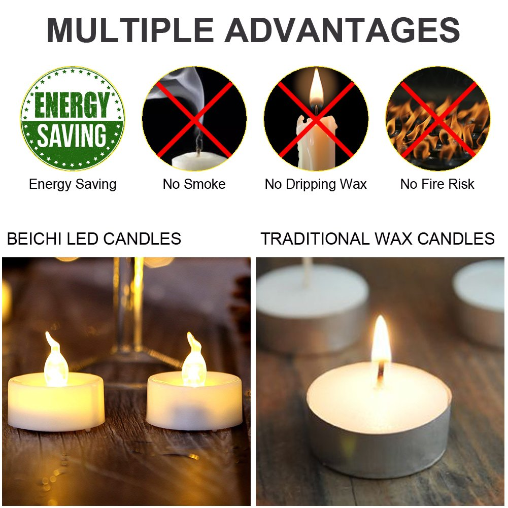 Beichi 100 Pack Flameless LED Tea Light Candles, Battery Operated Votive Tealight Little Candles with Warm White Flickering Buld Lights, Small Electric Fake Tea Candles for Holiday, Wedding, Party by Beichi (Image #6)