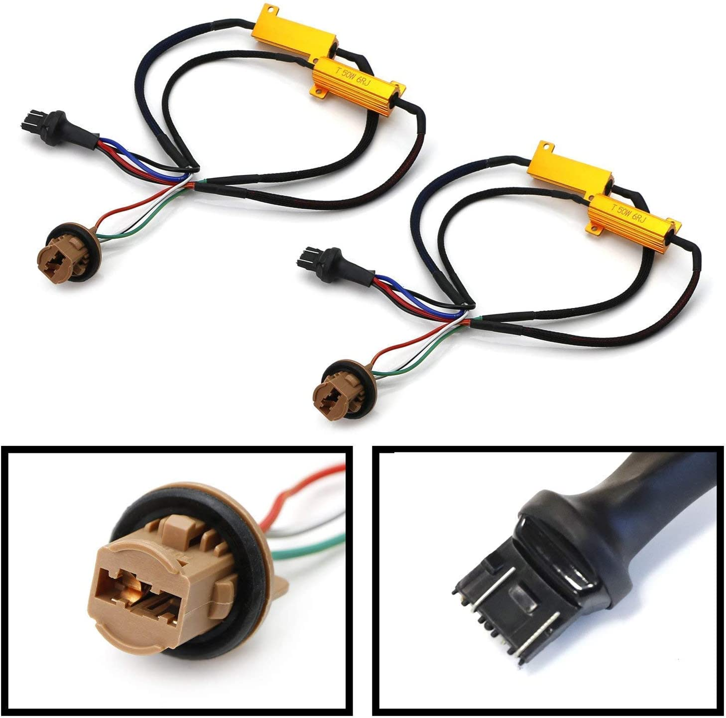 iJDMTOY 2 Hyper Flash//Bulb Out Error Fix Wiring Adapters Compatible With 7443 7444 T20 LED Bulbs Turn Signal or Tail Brake Lights