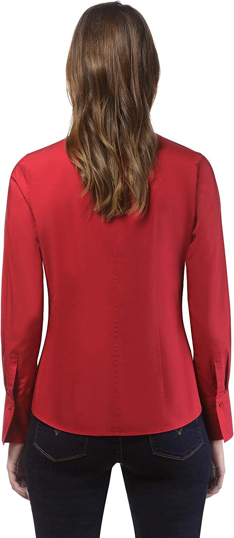 Manica-Lunga in Tinta Unita Vincenzo Boretti Camicia-Blusa Donna Elegante Facile da Stirare Colletto Dritto Taglio Abbastanza Aderente//Modern-Fit