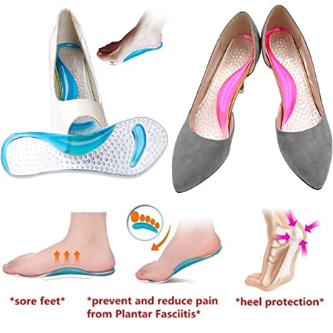 Silicone Gel Cushion High Heel Shoes Insoles Pad Foot Arch Care Support ca
