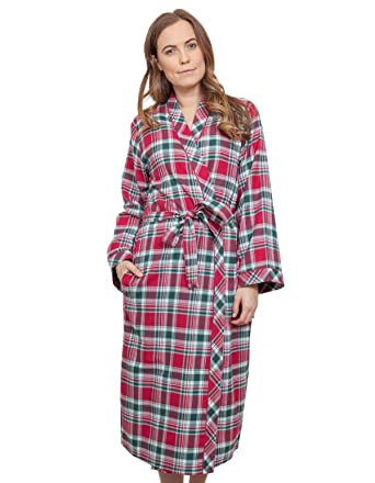 Cyberjammies 3856 Womens Holly Red Check Dressing Gown Loungewear