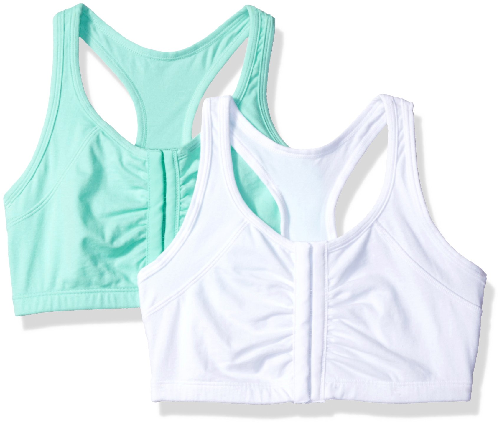 Fruit of the Loom Women's 2 Pk Front Close Racerback, Mint Chip/White Ck, 38 by Fruit of the Loom
