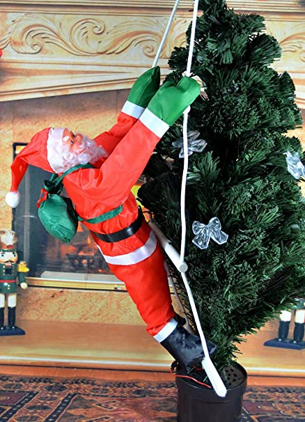 christmas santa claus climbing on ladder indoor outdoor christmas tree hanging santa claus decoration christmas ornament - Amazon Outdoor Christmas Decorations