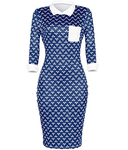 AIIT Womens Casual Dresses 3/4 Sleeve Floral Patchwork Bodycon Pencil Dress