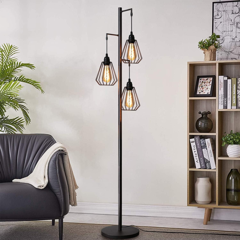Lámpara de pie ZMH, lámpara de pie vintage de 3 llamas en diseño industrial, lámpara de pie retro de hierro, lámpara de pie de metal retro, portalámparas E27 max 40W, altura: 163 cm, color antiguo