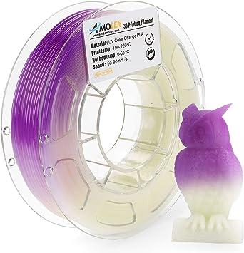 AMOLEN Impresora 3D Filamento PLA 1.75mm, Cambio de Color UV/luz ...