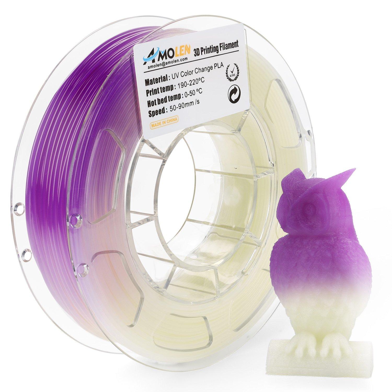 AMOLEN Imprimante 3D Filament PLA 1.75mm, Changement de couleur UV/lumière du soleil à Rose, 200G,+/- 0.03 mm, comprend des échantillons de Filaments Changement de couleur de température.
