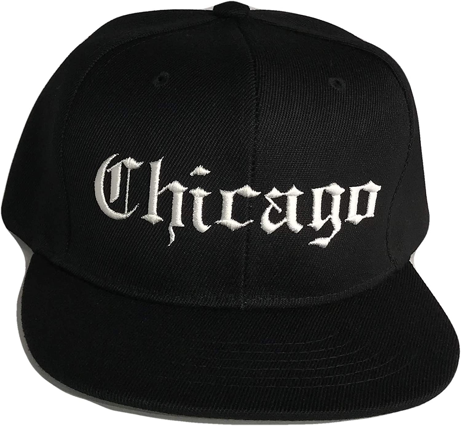 The Hat Shoppe Chicago Old English Flat Bill Snapback Baseball Cap (One Size, Black/White)