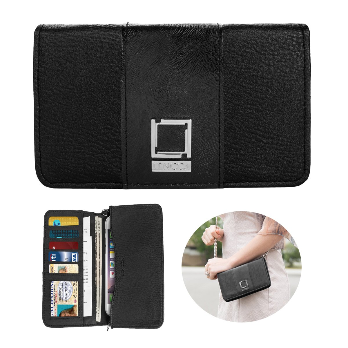 BlackBlack Roxie Womens Leather Crossbody Cell Phone Purse Clutch Wallet Handbag Organizer for iPhone Xs Max XS XR X 8 7 Plus 6s 6 5 SE Galaxy S9 S8 Plus S7 Note9 Note8