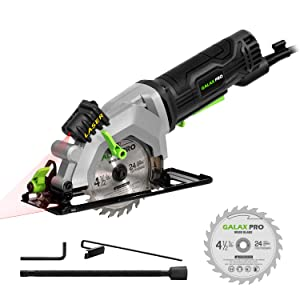 """Circular Saw, GALAX PRO 4Amp 3500RPM Mini Circular Saw with Laser Guide, Max. Cutting Depth1-11/16""""(90°), 1-1/8""""(45°)Compact Saw with 4-1/2"""" 24T TCT Blade, Vacuum Adapter, Blade Wrench, and Rip Guide"""