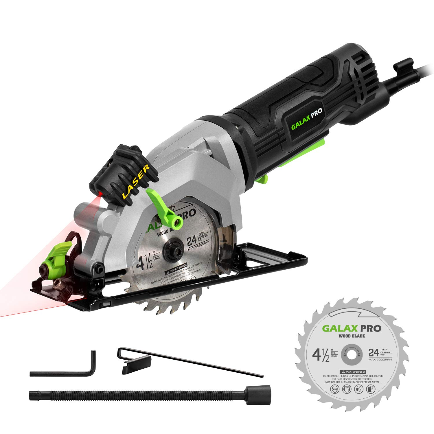 Circular Saw, GALAX PRO 4Amp 3500RPM Mini Circular Saw with Laser Guide, Max. Cutting Depth1-11/16''(90°), 1-1/8''(45°)Compact Saw with 4-1/2'' 24T TCT Blade, Vacuum Adapter, Blade Wrench, and Rip Guide