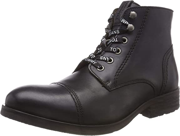 TALLA 43 EU. Tommy Hilfiger Dressy Leather Lace Up Boot, Botas Militar para Hombre