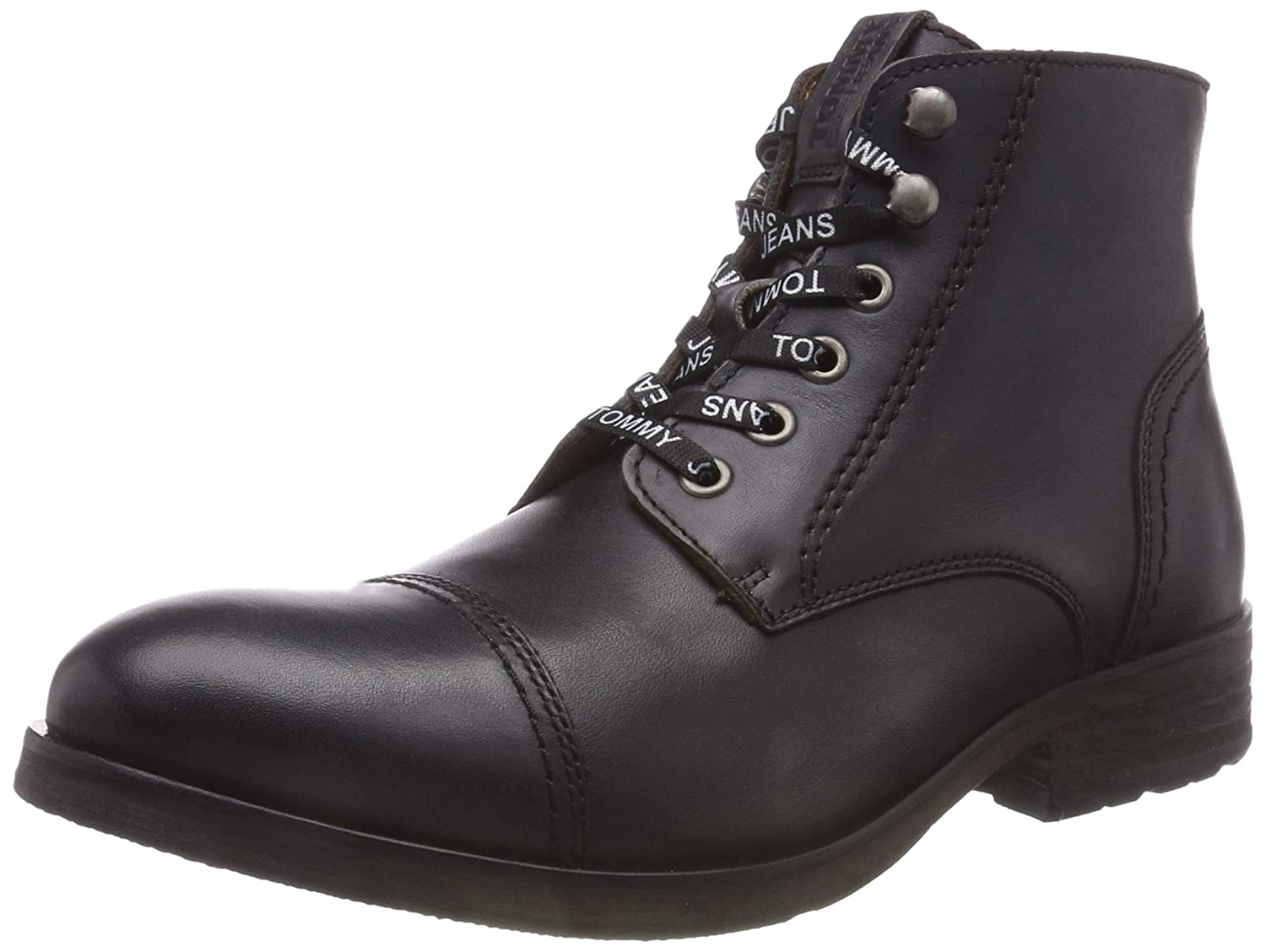 Tommy Jeans Dressy Leather Lace Up Boot, Botas Militar para Hombre