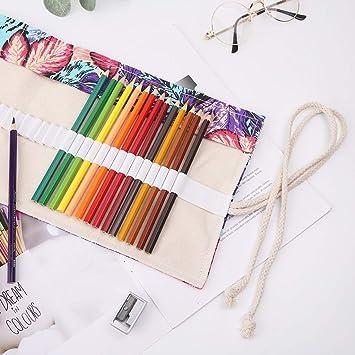 24 trous Tinaa Trousse /à Crayons Enroulable Haute Capacit/é Toile Pratique