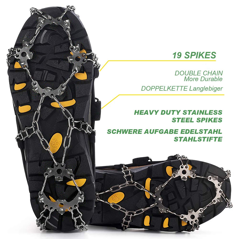 Correr Tacos Antideslizantes para Caminar Escalada y Senderismo MIABOO Tacos de Hielo Crampons Traction Sonw Grips con 19 Pinchos de Acero Inoxidable y Silicona Duradera
