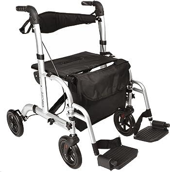 2 in 1 girello deambulatore ribaltabile trasporto sedia a rotelle