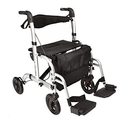 Elite Care Hybrid 2 in 1 Rollator Walking Frame/Folding Transfer Wheelchair