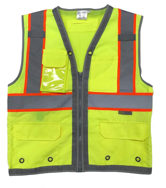 Reflective w//Orange Binding Surveyor Safety Vest 9 Pockets iPAD 3C Products SV2700 Neon Green ANSI//ISEA Class 2