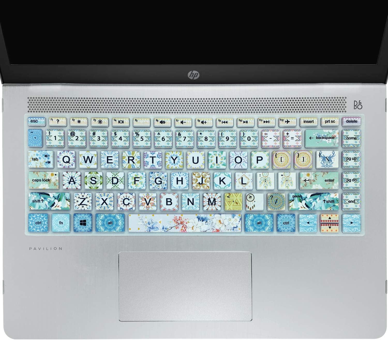 """Keyboard Cover for HP 14"""" Laptop 2020 2019 2018,HP Pavilion x360 14M-BA 14M-CD 14M-DH 14-BA 14-BF 14-cm 14-CF 14-DF 14-DK 14-DS 14-DQ Series 14 Inch Protective Skin, Big Letter Design, Garland"""