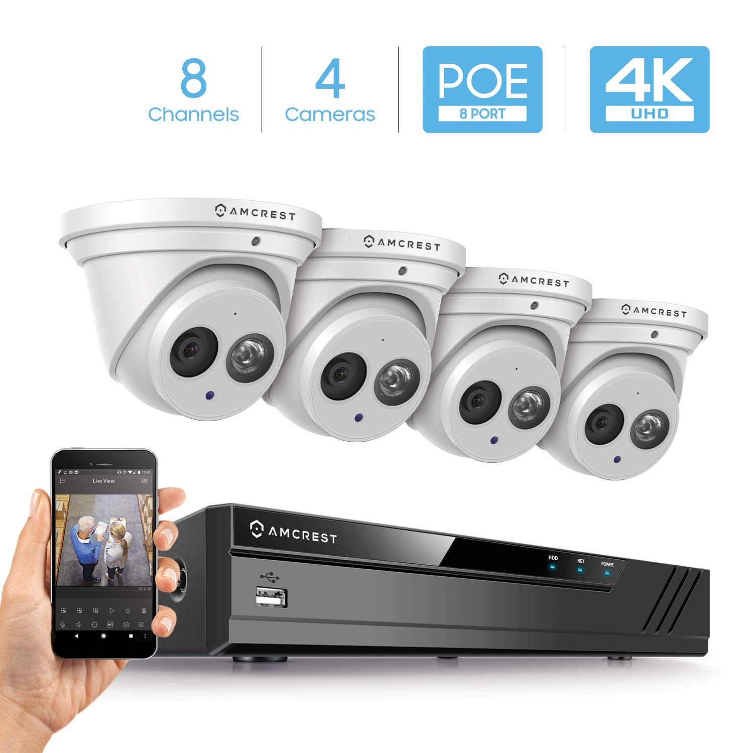 Amcrest 4K Security Camera System w/ 4K 8CH PoE NVR, (4) x 4K (8-Megapixel) IP67 Weatherproof Metal Turret Dome POE IP Cameras (3840x2160), 2.8mm Wide Angle Lens, NV4108E-IP8M-T2499EW4 (White) by Amcrest