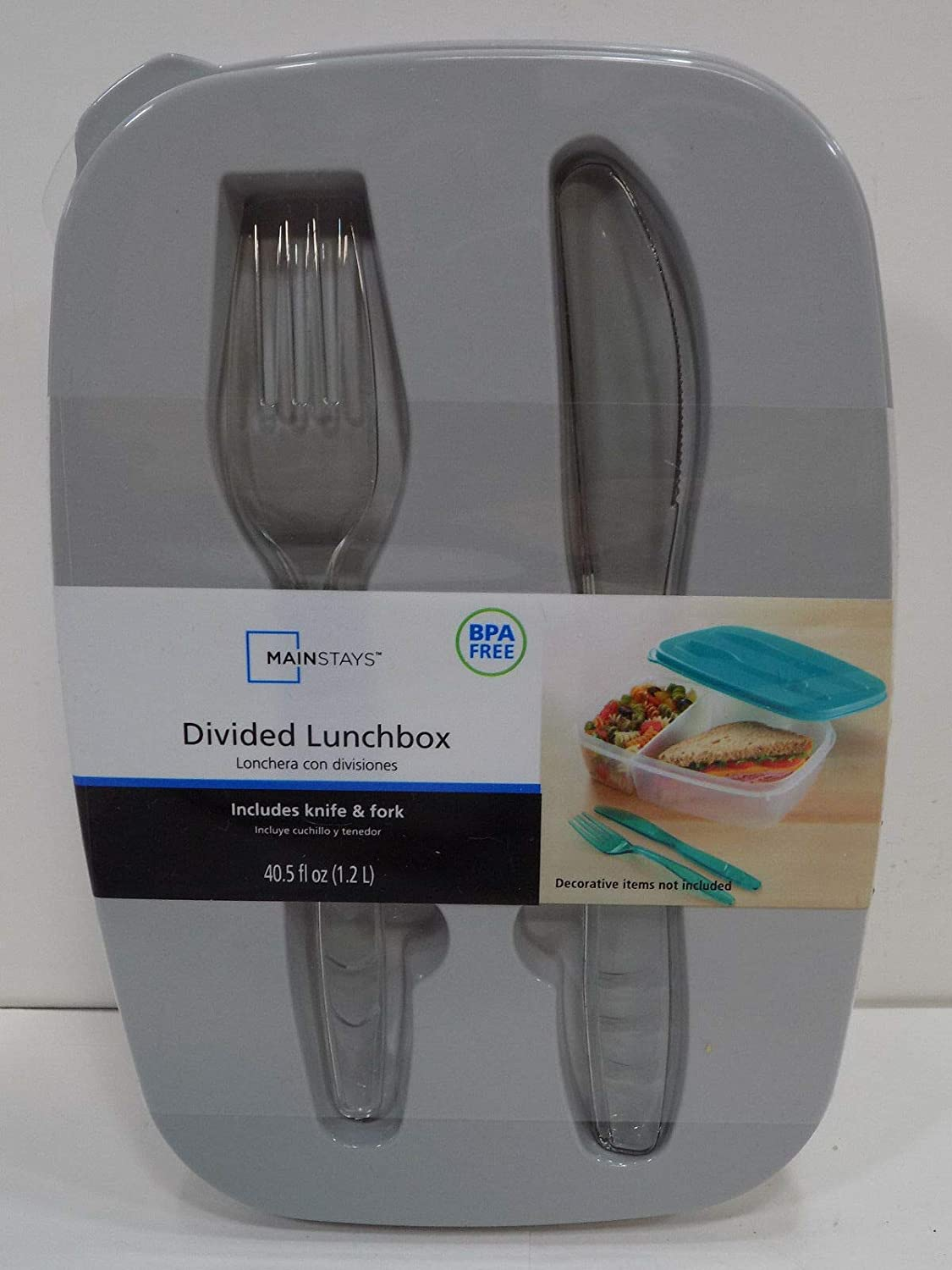 2 Divided Lunchbox (Includes Fork & Knife) Teal
