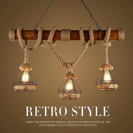 Malovecf Rústico de cáñamo cuerda colgante luces de madera Downlights luces de techo birdcage Lámparas sombras