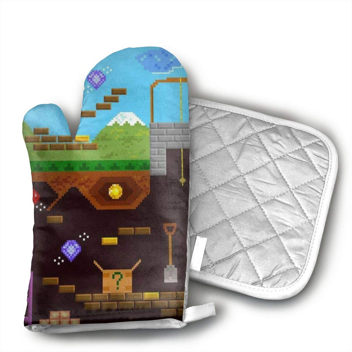 GRSTsys Retro Video Game Oven Mitts - Professional Heat Resistant Mitt, Baking, Grilling, Broiling.