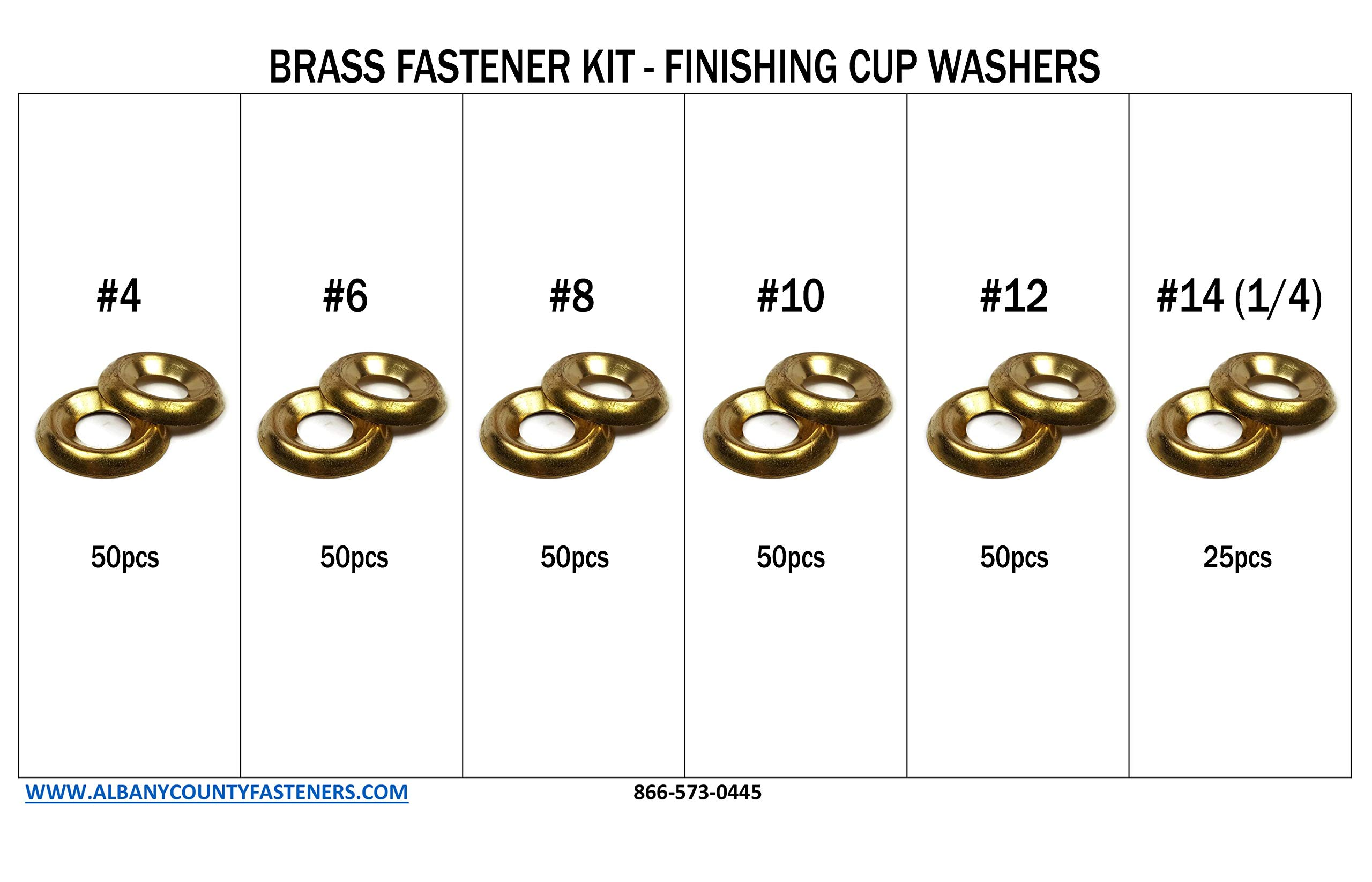 Brass Finishing Cup Washer Countersunk Washer Kit #4 through 1/4'' - 276 pieces