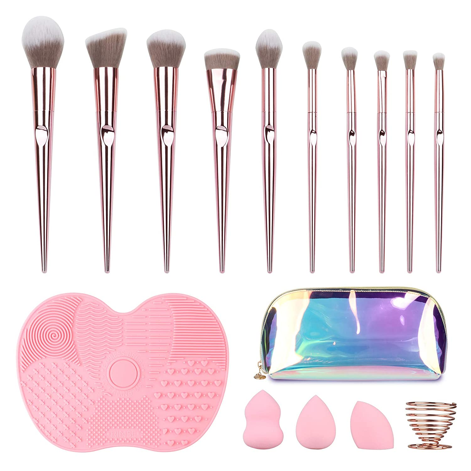 SKYTREE Makeup Brushes Set, 10Pcs Makeup Brushes & 3 Makeup Sponges & 1 Brush Cleaner & 1 Sponge Holder with TPU Case, Foundation Brushes Blending Face Powder Eye Shadows Make Up Brushes Tool (Pink)